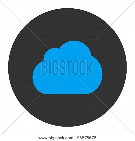 Cloud flat blue and gray colors round button