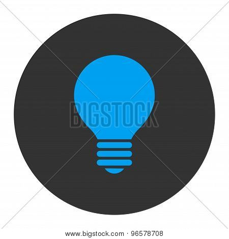 Electric Bulb flat blue and gray colors round button