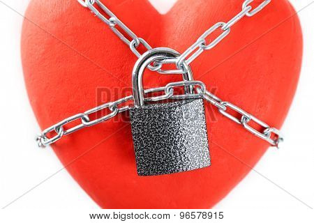 Heart shape with metal chain, closeup