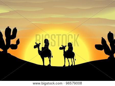 Silhouette of two camels with riders traveling in desert during sunset
