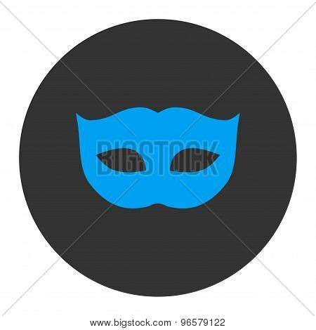 Privacy Mask flat blue and gray colors round button