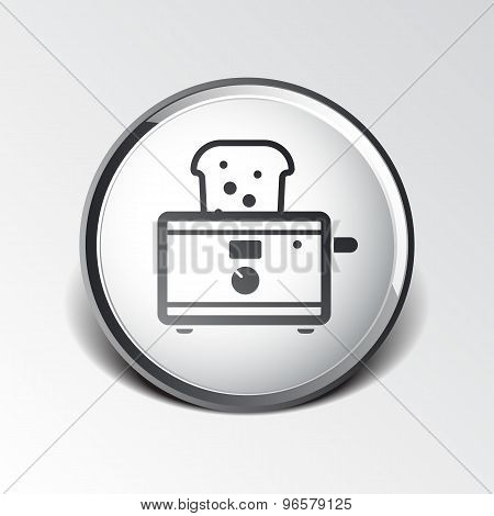 toaster icon isolated slice crust white snack appliance