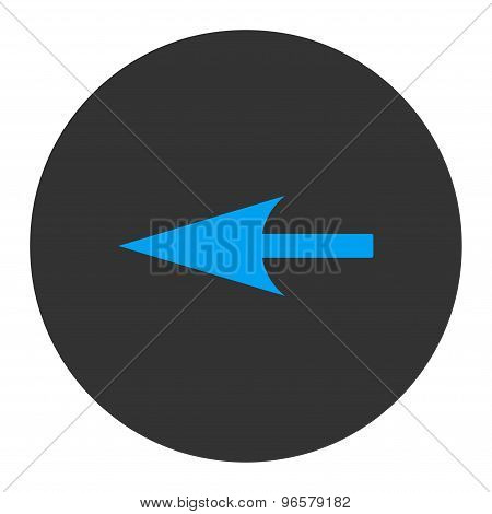 Sharp Left Arrow flat blue and gray colors round button