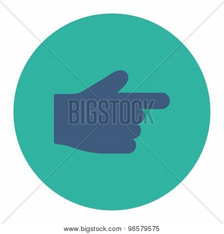 Index Finger flat cobalt and cyan colors round button