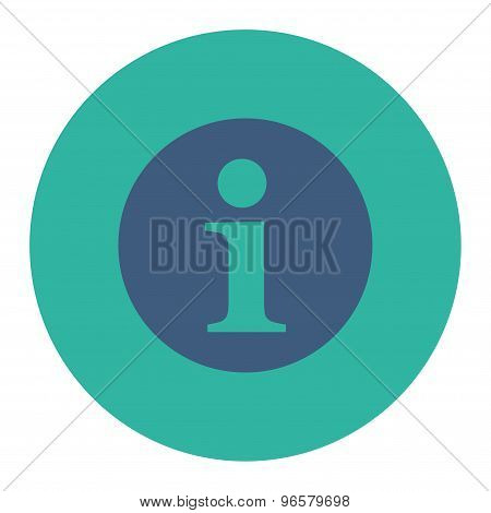 Information flat cobalt and cyan colors round button