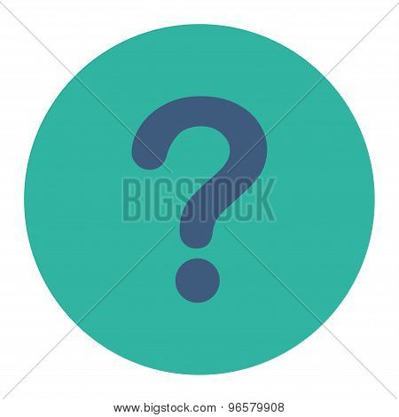 Question flat cobalt and cyan colors round button