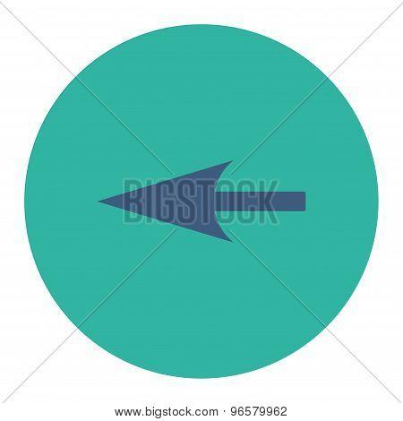 Sharp Left Arrow flat cobalt and cyan colors round button