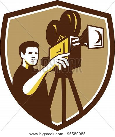 Movie Director Movie Film Camera Shield Retro