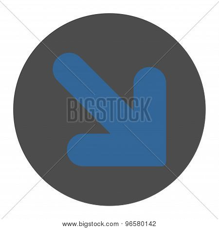Arrow Down Right flat cobalt and gray colors round button