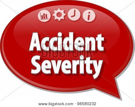 Speech bubble dialog illustration of business term saying accident severity