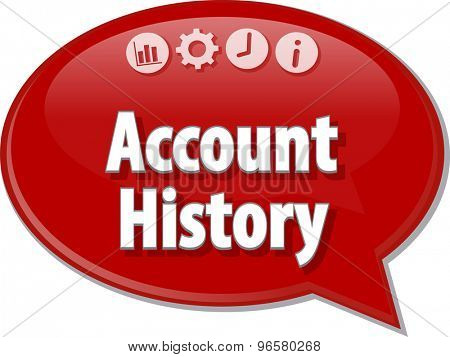 Speech bubble dialog illustration of business term saying account history