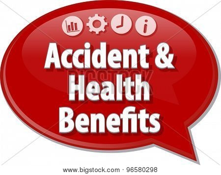 Speech bubble dialog illustration of business term saying Accident and Health Benefits