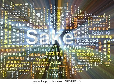 Background concept wordcloud illustration of sake glowing light
