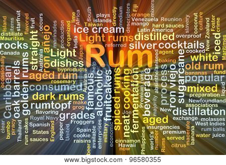 Background concept wordcloud illustration of rum glowing light