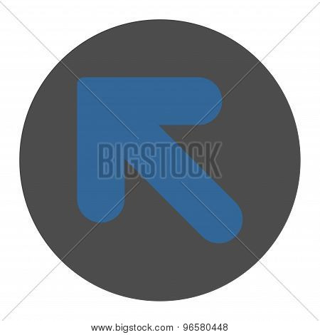 Arrow Up Left flat cobalt and gray colors round button