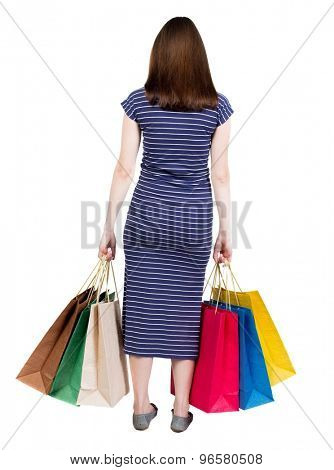 back view of going  woman  in  dress woman with shopping bags . beautiful brunette girl in motion.  Isolated over white background. Girl in a blue striped dress with simplicity colored shopping bags.