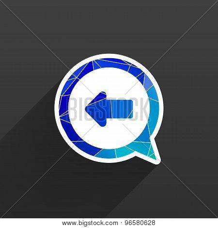 Blue arrowleft symbol business white background button