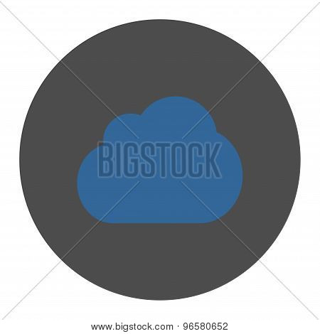 Cloud flat cobalt and gray colors round button