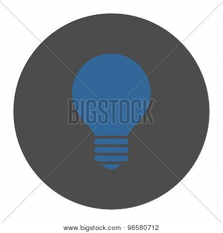 Electric Bulb flat cobalt and gray colors round button