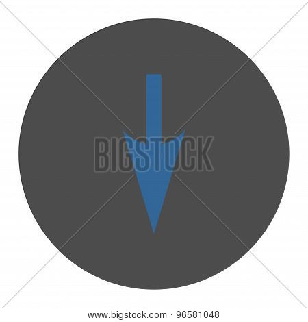 Sharp Down Arrow flat cobalt and gray colors round button