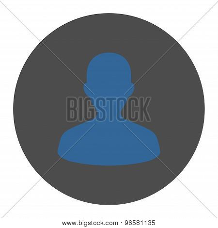 User flat cobalt and gray colors round button