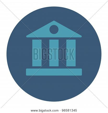 Bank flat cyan and blue colors round button