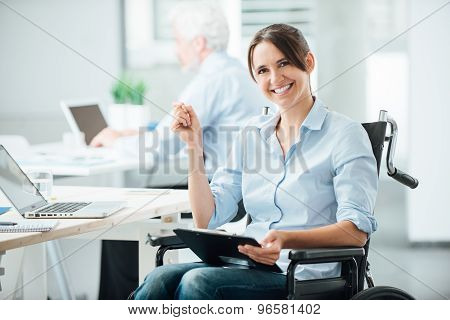 Happy Office Worker In Wheelchair