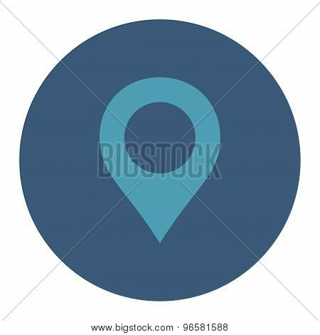 Map Marker flat cyan and blue colors round button