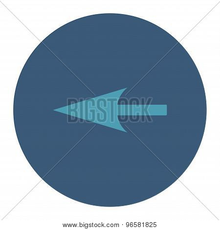 Sharp Left Arrow flat cyan and blue colors round button