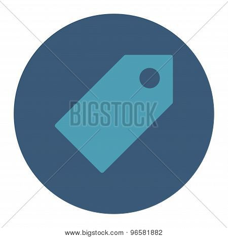 Tag flat cyan and blue colors round button