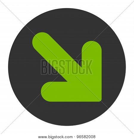 Arrow Down Right flat eco green and gray colors round button