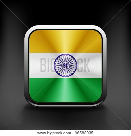 India icon flag national travel icon country symbol button