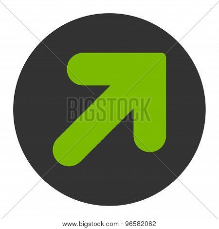Arrow Up Right flat eco green and gray colors round button
