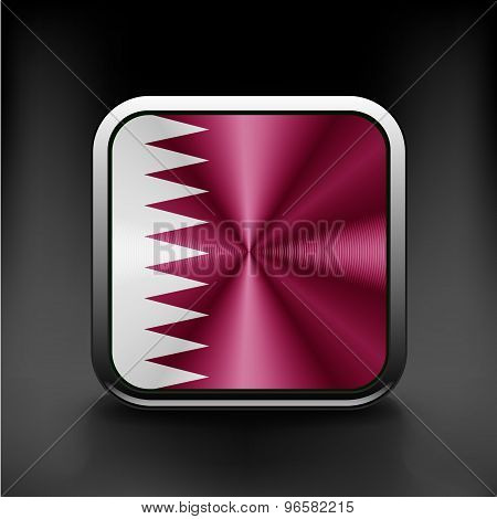 Flag of Qatar as round glossy icon. Button with Qatari flag