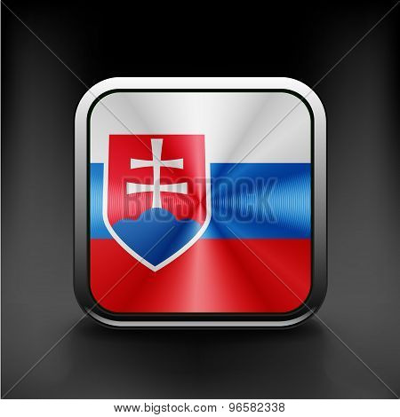 Slovak republic flag national travel icon country symbol button