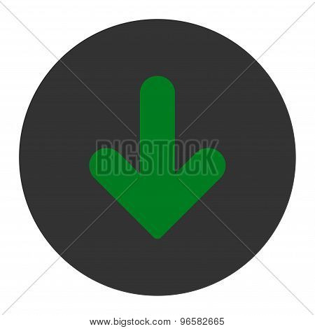Arrow Down flat green and gray colors round button