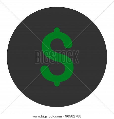 Dollar flat green and gray colors round button