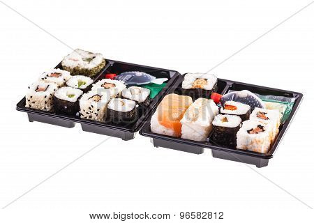Two Isolated Sushi Boxes