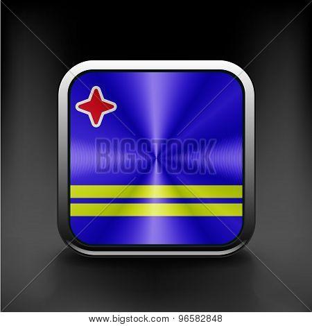 Aruba flag national travel icon country symbol  button