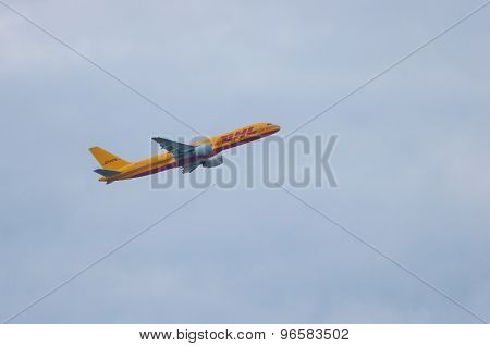 KIEV, UKRAINE - JULY 10, 2015: DHLs Airbus A300 cargo plane at Budapest Airport, July 10 2015. DHL i