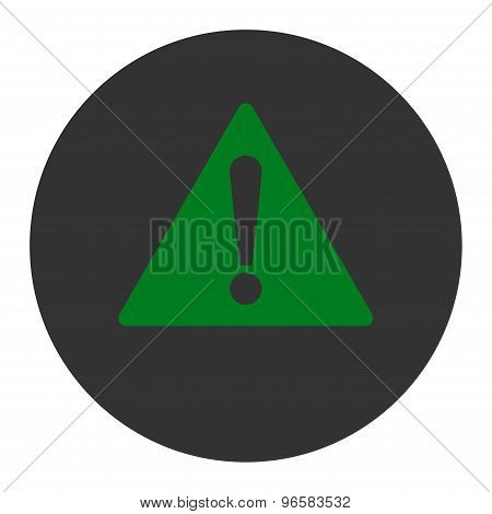 Warning flat green and gray colors round button