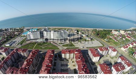 RUSSIA, SOCHI - JUL 30, 2014: Top view of town-hotel Barhatnye Sezony. Aerial view. Photo with noise from action camera.