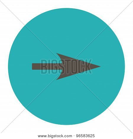 Arrow Axis X flat grey and cyan colors round button