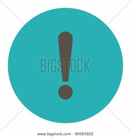 Exclamation Sign flat grey and cyan colors round button