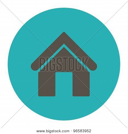 Home flat grey and cyan colors round button