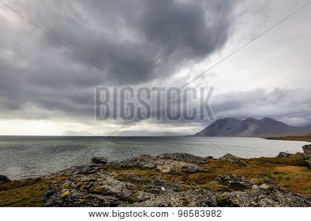 Southern coast of Iceland and Northern Atlantic with overcast skies