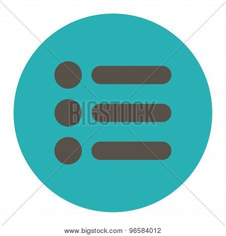 Items flat grey and cyan colors round button
