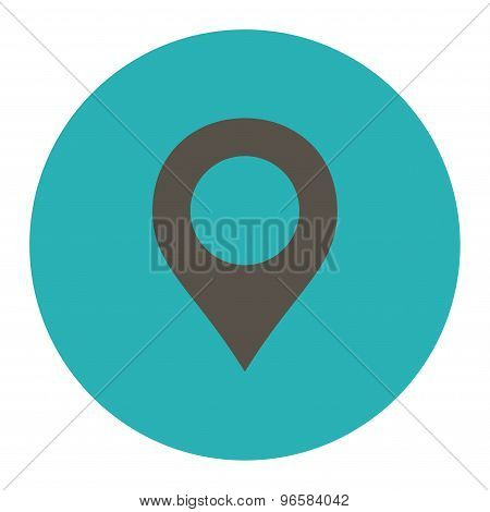 Map Marker flat grey and cyan colors round button