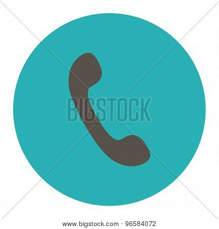 Phone flat grey and cyan colors round button
