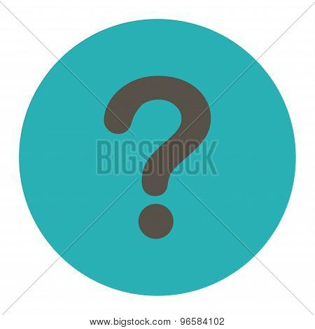 Question flat grey and cyan colors round button